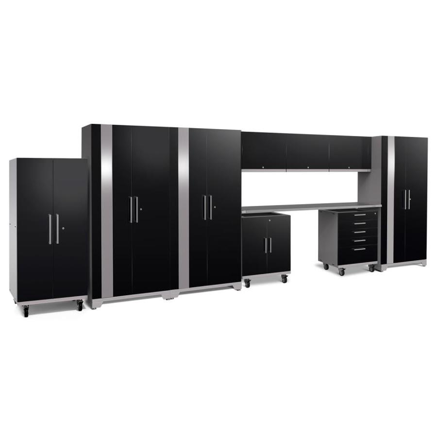 NewAge Products Performance Plus 2 225-in W x 80-in H Gloss Black Steel Garage Storage System