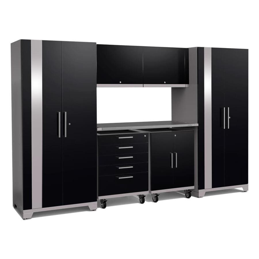 NewAge Products Performance Plus 2 133-in W x 80-in H Gloss Black Steel Garage Storage System