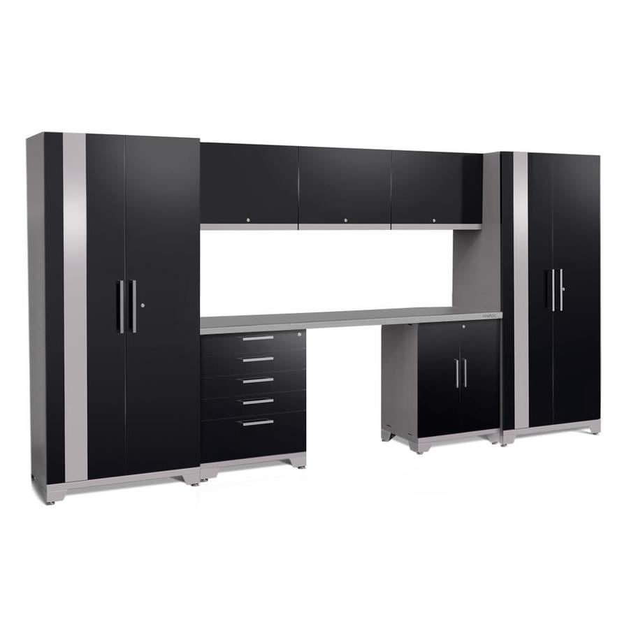 NewAge Products Performance Plus 2 156-in W x 80-in H Gloss Black Steel Garage Storage System