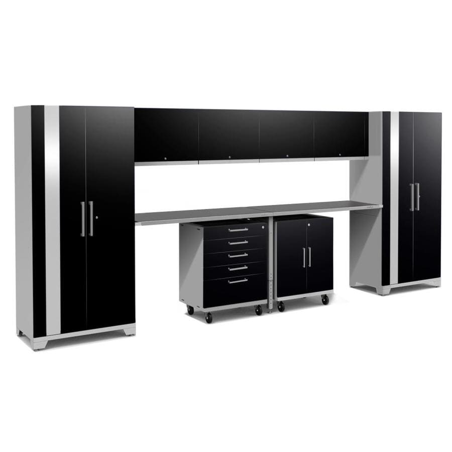 NewAge Products Performance Plus 2 189-in W x 80-in H Gloss Black Steel Garage Storage System