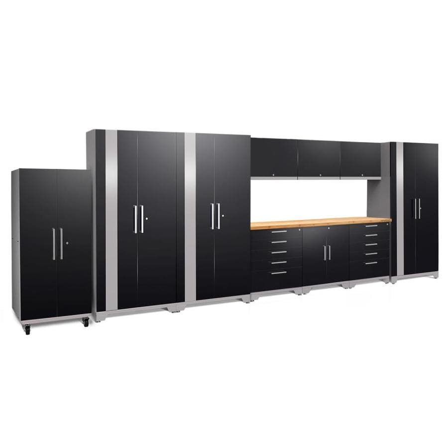 NewAge Products Performance Plus 2 220-in W x 80-in H Gloss Black Steel Garage Storage System