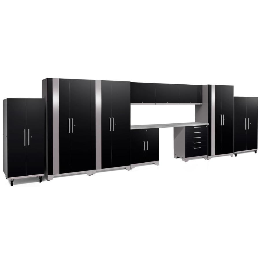 NewAge Products Performance Plus 2 248-in W x 80-in H Gloss Black Steel Garage Storage System