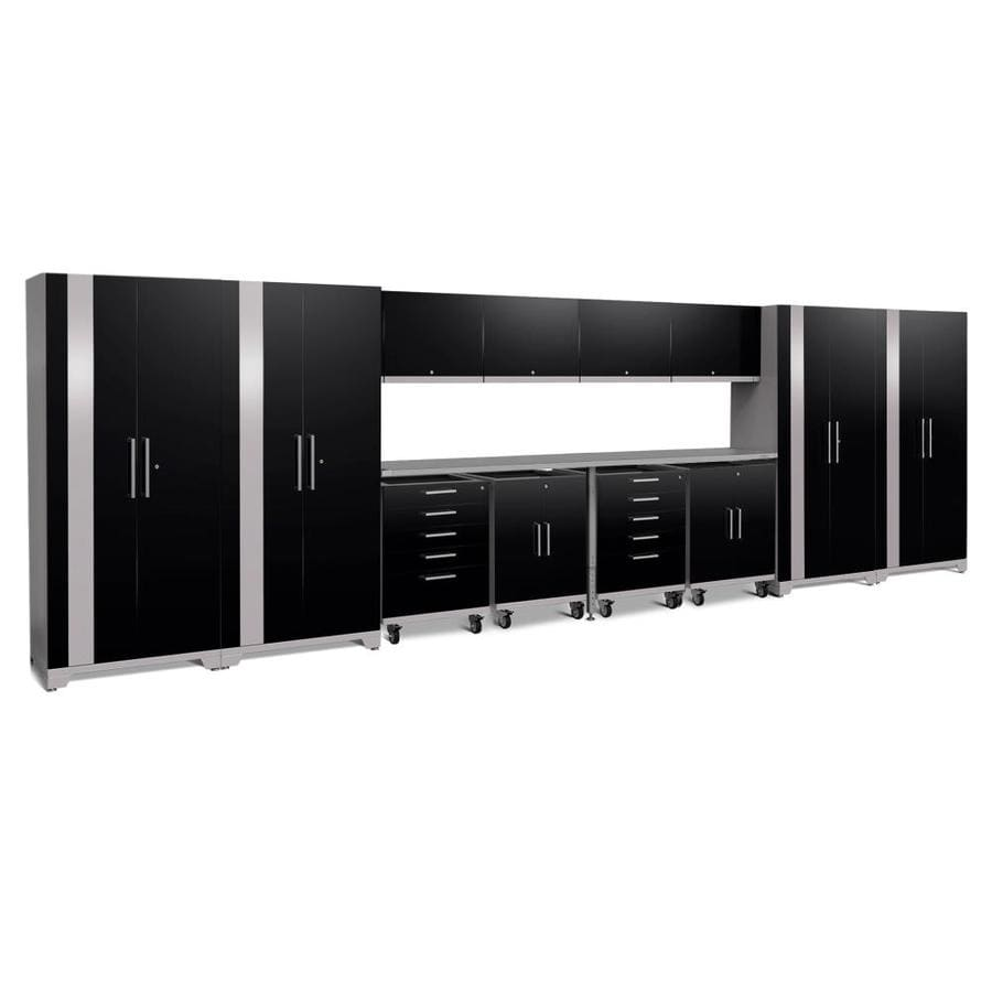 NewAge Products Performance Plus 2 266-in W x 80-in H Gloss Black Steel Garage Storage System