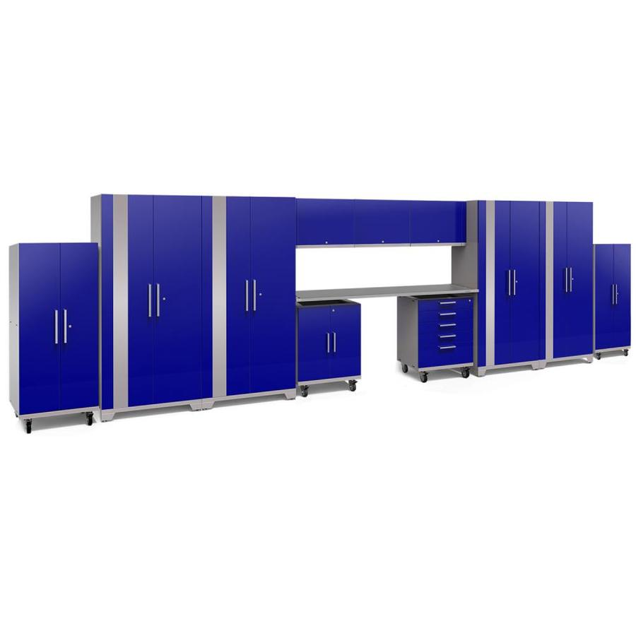 NewAge Products Performance Plus 2 289-in W x 80-in H Gloss Blue Steel Garage Storage System