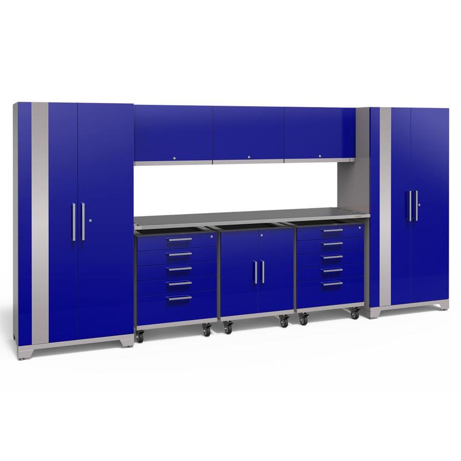 NewAge Products Performance Plus 2 161-in W x 80-in H Gloss Blue Steel Garage Storage System