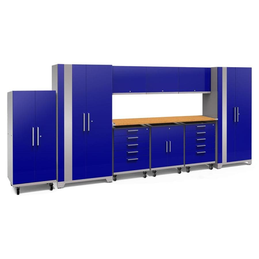 NewAge Products Performance Plus 2 189-in W x 80-in H Gloss Blue Steel Garage Storage System