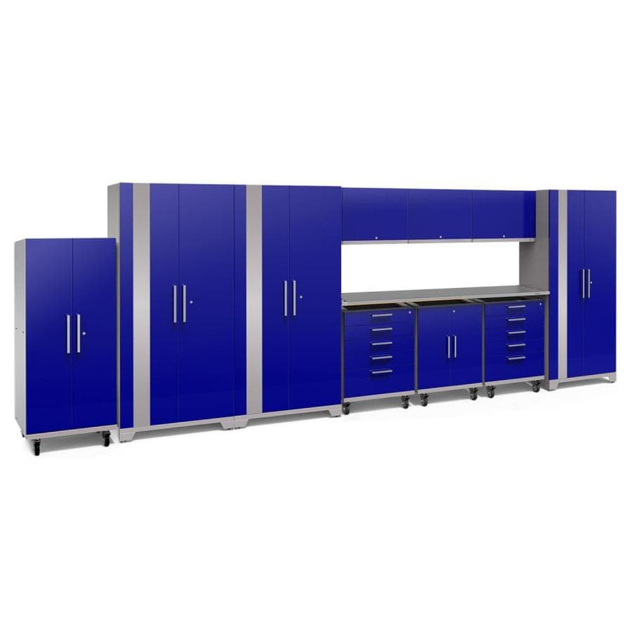 NewAge Products Performance Plus 2 225-in W x 80-in H Gloss Blue Steel Garage Storage System
