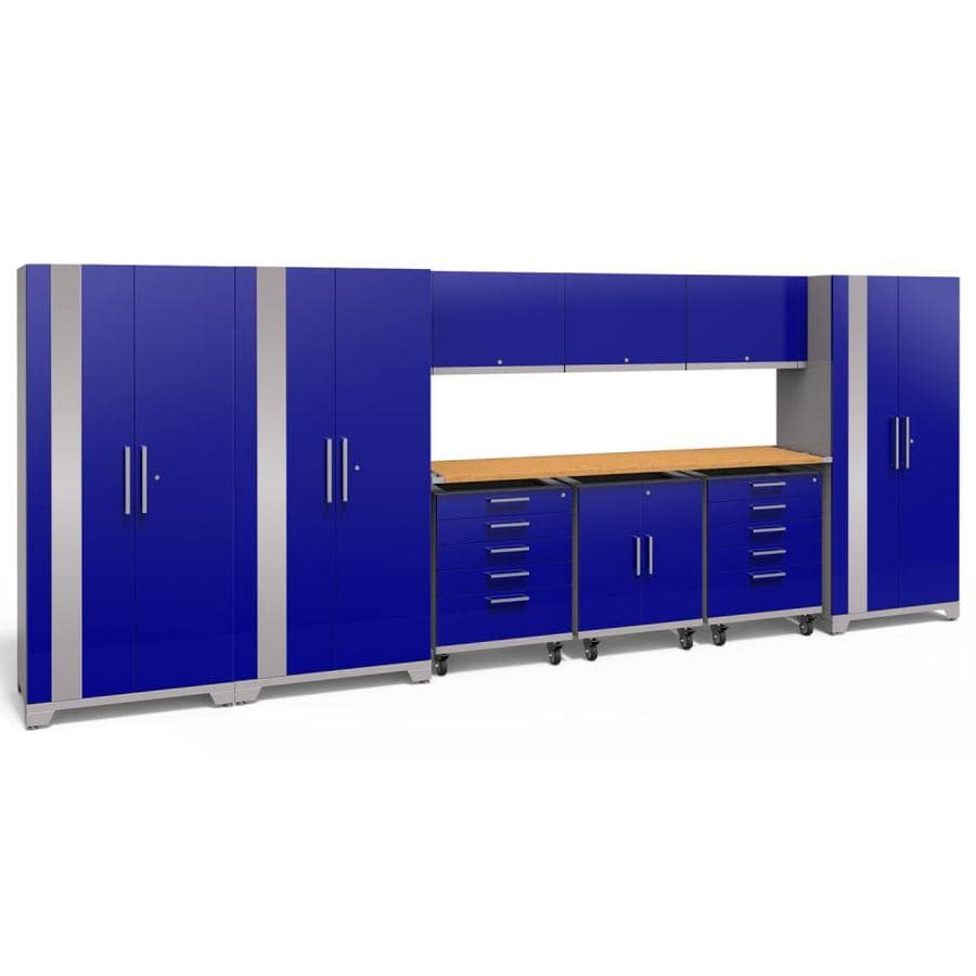 NewAge Products Performance Plus 2 197-in W x 80-in H Gloss Blue Steel Garage Storage System