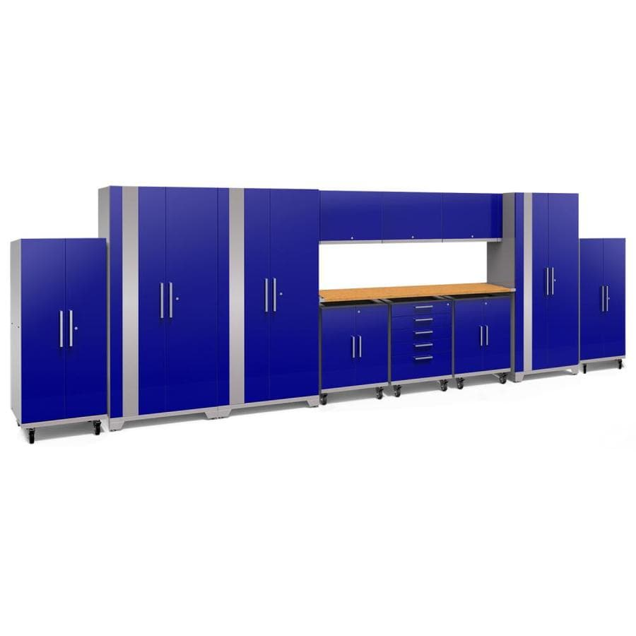 NewAge Products Performance Plus 2 253-in W x 80-in H Gloss Blue Steel Garage Storage System