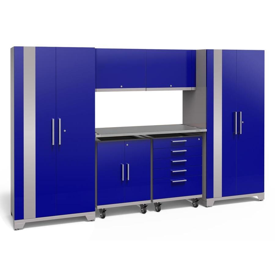 NewAge Products Performance Plus 2 133-in W x 80-in H Gloss Blue Steel Garage Storage System