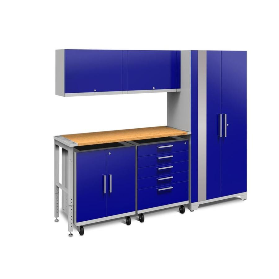 NewAge Products Performance Plus 2 97-in W x 80-in H Gloss Blue Steel Garage Storage System