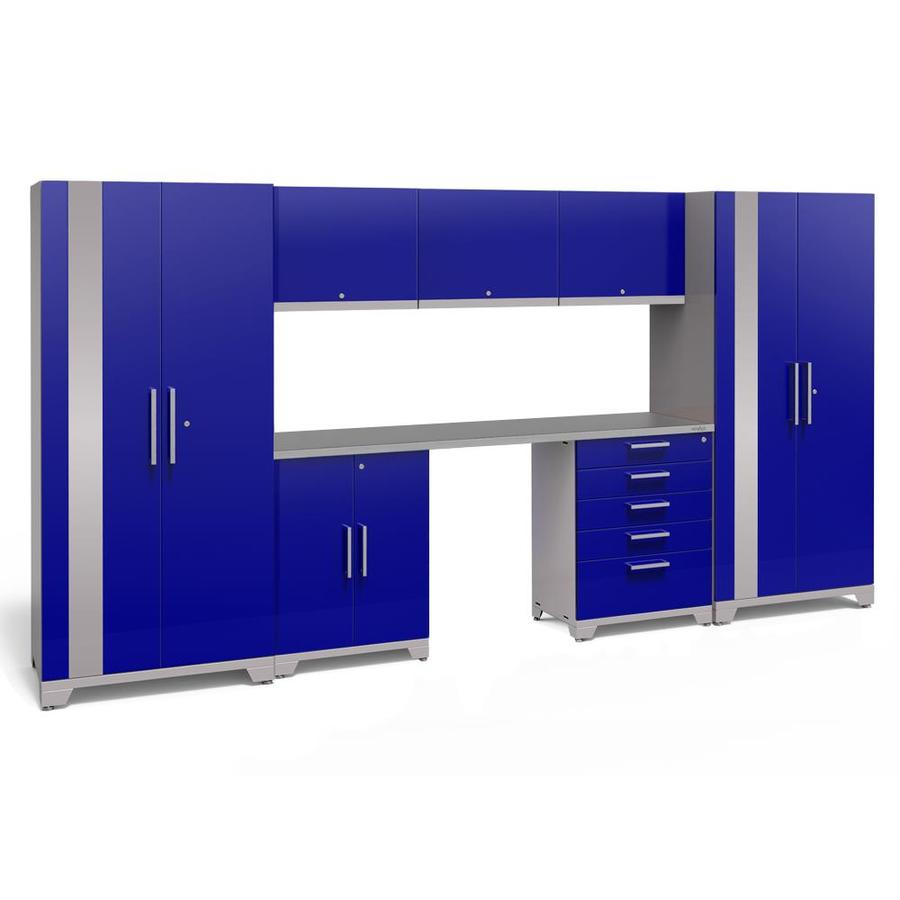 NewAge Products Performance Plus 2 156-in W x 80-in H Gloss Blue Steel Garage Storage System