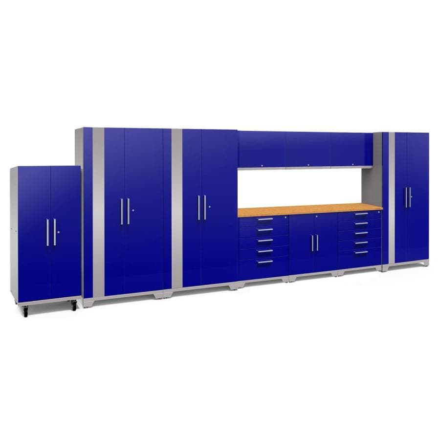 NewAge Products Performance Plus 2 220-in W x 80-in H Gloss Blue Steel Garage Storage System