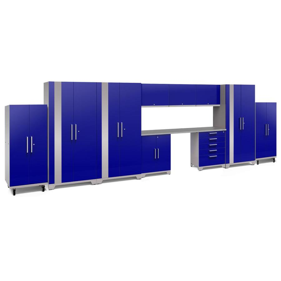 NewAge Products Performance Plus 2 248-in W x 80-in H Gloss Blue Steel Garage Storage System