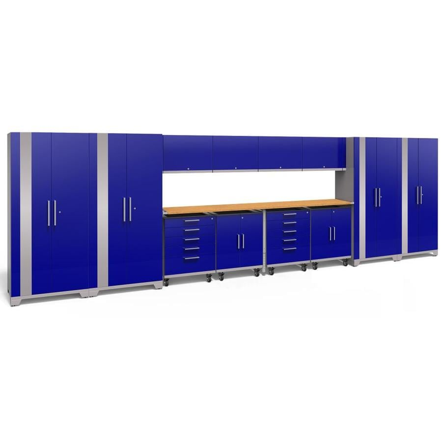 NewAge Products Performance Plus 2 266-in W x 80-in H Gloss Blue Steel Garage Storage System