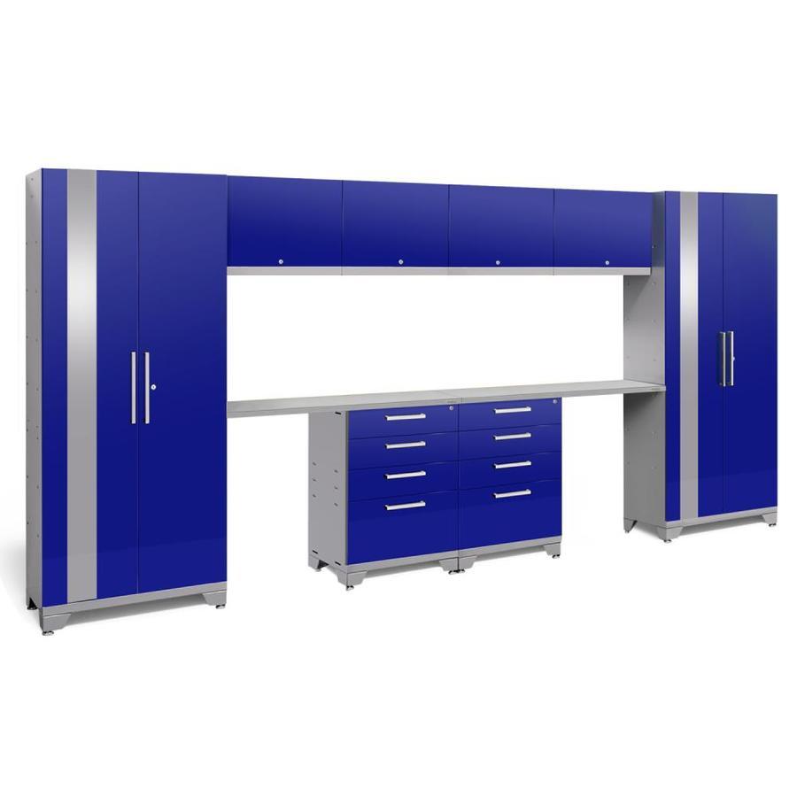 NewAge Products Performance 2.0 156.0 W x 72.0 H Gloss Blue Steel Garage Storage System