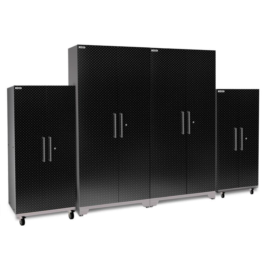 NewAge Products Performance Plus 2 128-in W x 80-in H Diamond Plate Gloss Black Steel Garage Storage System