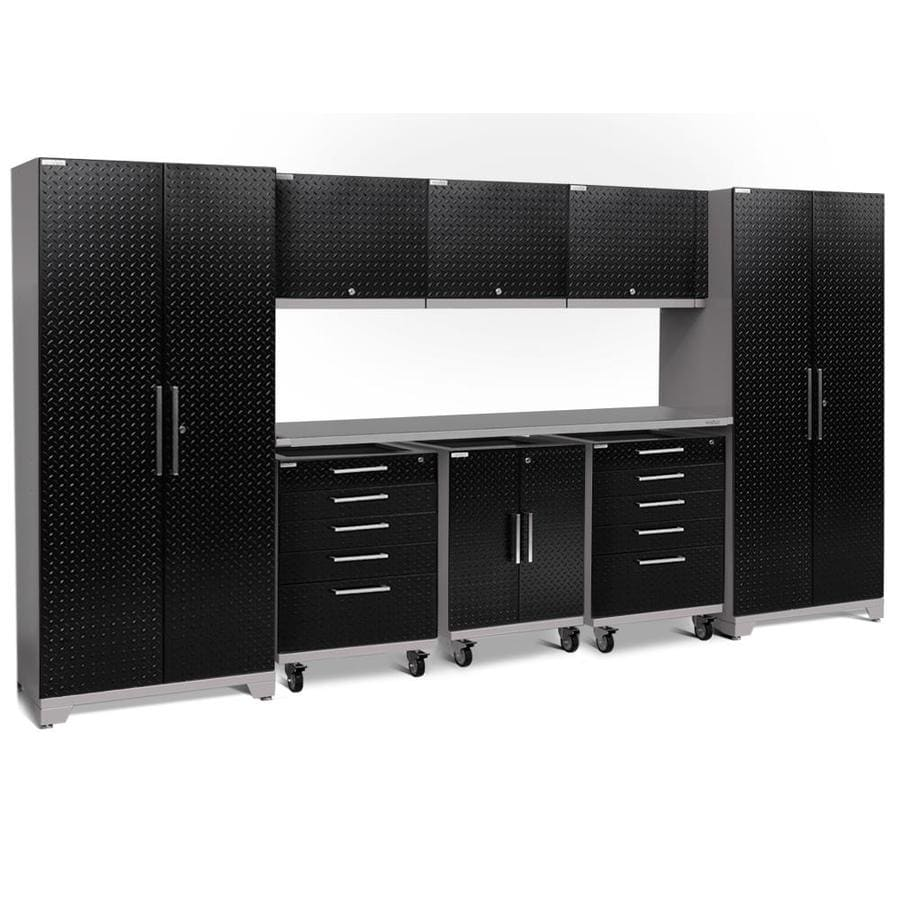 NewAge Products Performance Plus 2 161-in W x 80-in H Diamond Plate Gloss Black Steel Garage Storage System