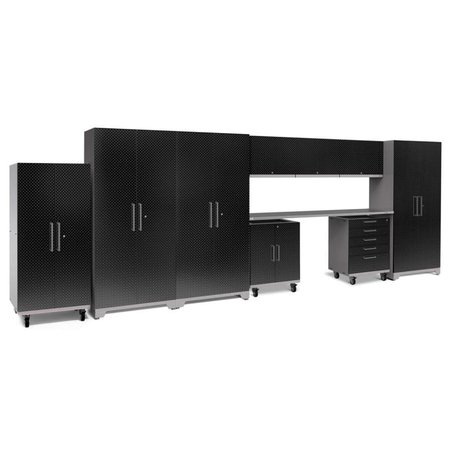 NewAge Products Performance Plus 2 225-in W x 80-in H Diamond Plate Gloss Black Steel Garage Storage System