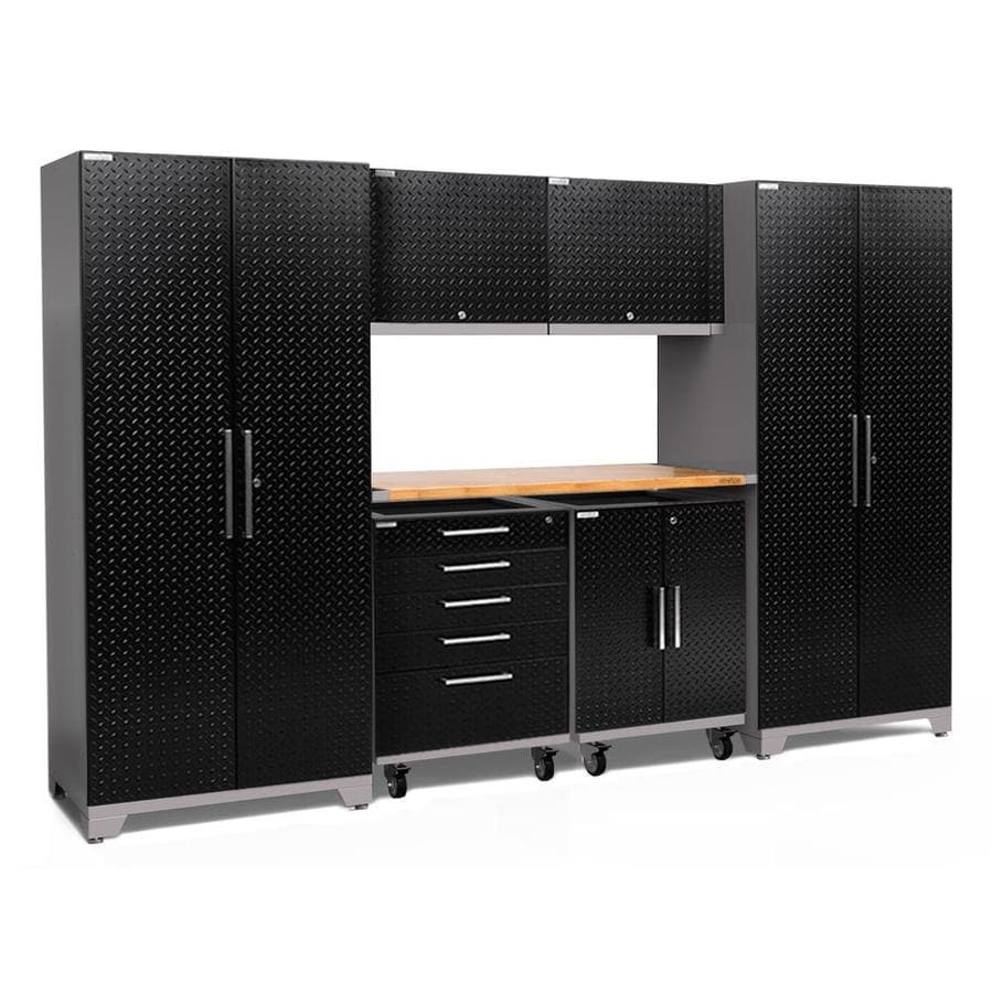 NewAge Products Performance Plus 2 133-in W x 80-in H Diamond Plate Gloss Black Steel Garage Storage System