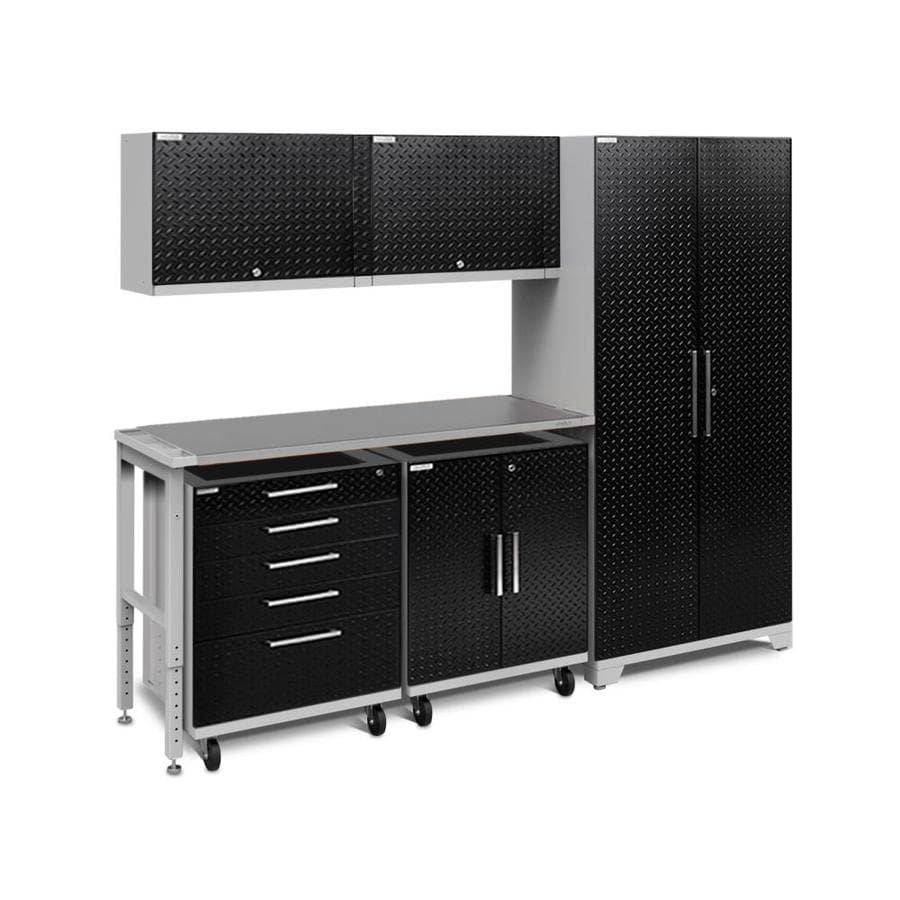 NewAge Products Performance Plus 2 97-in W x 80-in H Diamond Plate Gloss Black Steel Garage Storage System