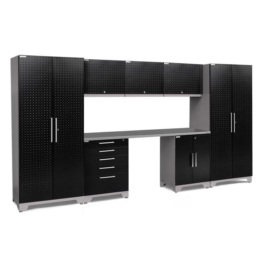 NewAge Products Performance Plus 2 156-in W x 80-in H Diamond Plate Gloss Black Steel Garage Storage System