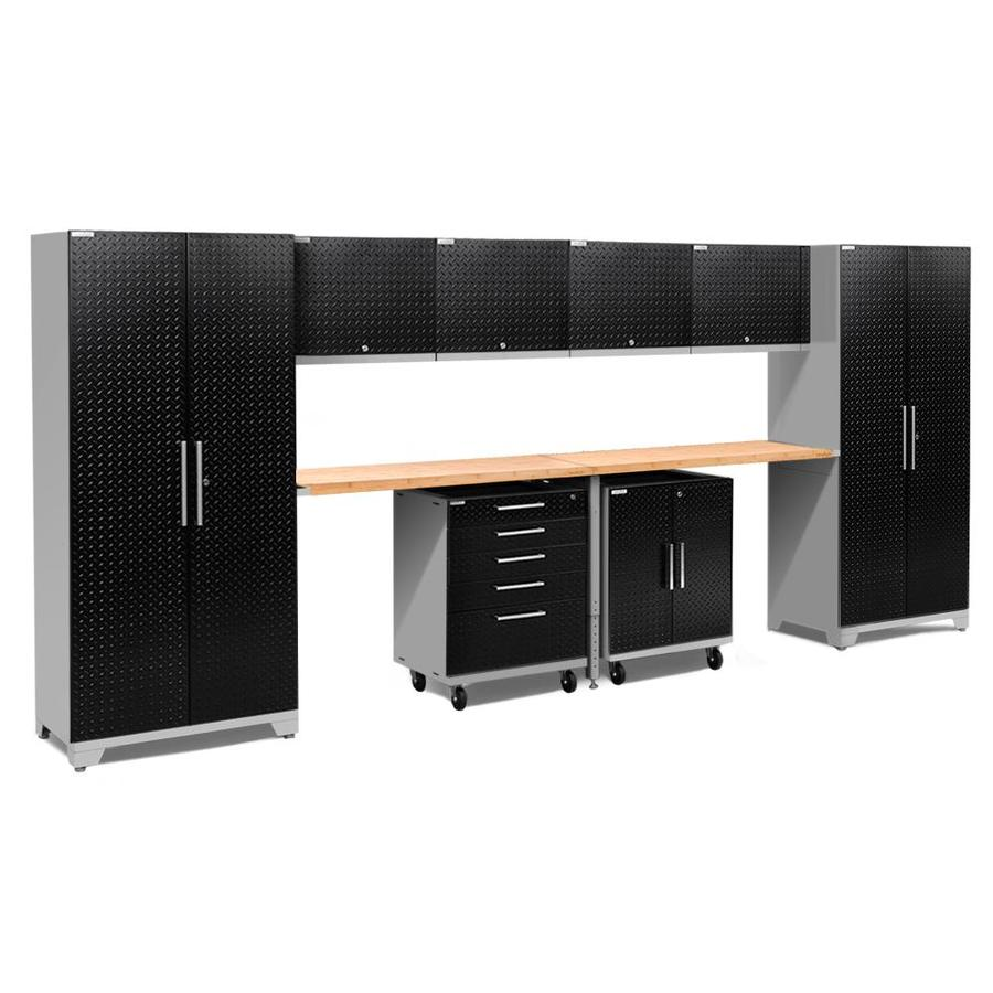NewAge Products Performance Plus 2 189-in W x 80-in H Diamond Plate Gloss Black Steel Garage Storage System