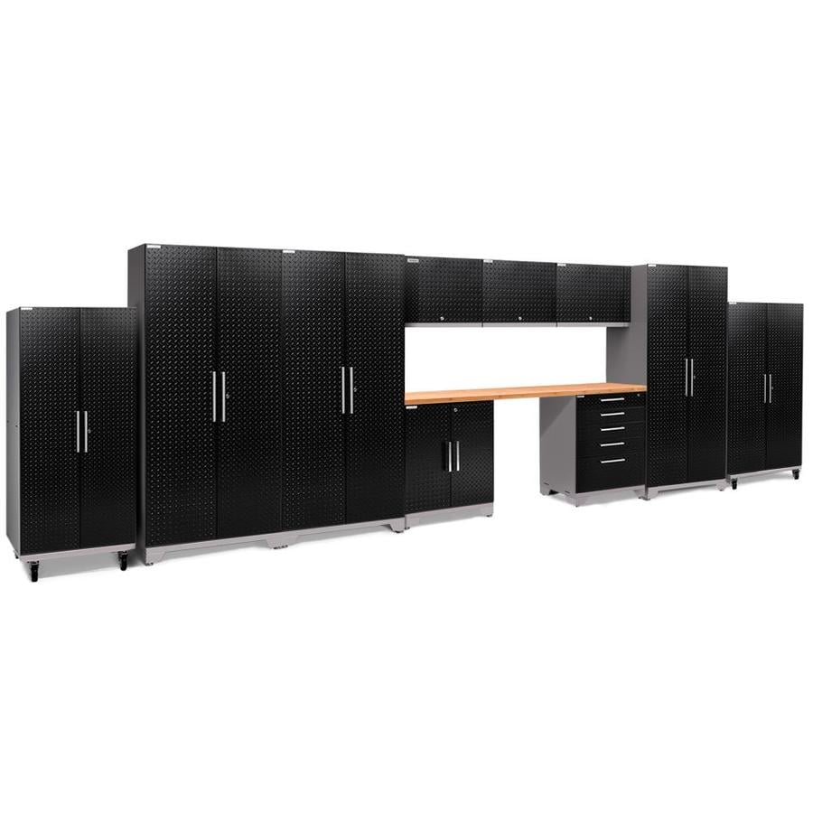 NewAge Products Performance Plus 2 248-in W x 80-in H Diamond Plate Gloss Black Steel Garage Storage System