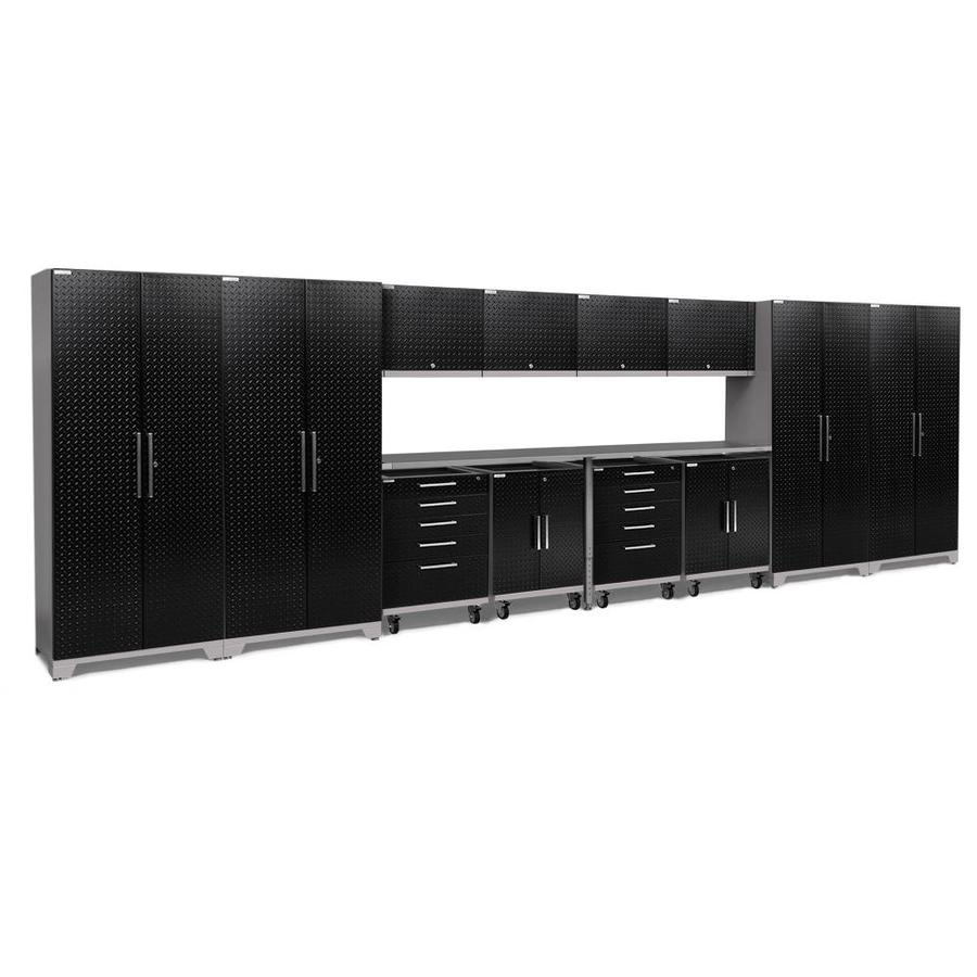 NewAge Products Performance Plus 2 266-in W x 80-in H Diamond Plate Gloss Black Steel Garage Storage System