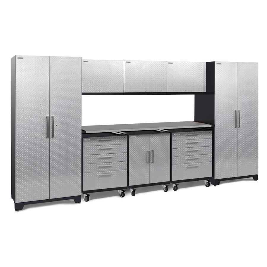 NewAge Products Performance Plus 2 161-in W x 80-in H Diamond Plate Gloss Silver Steel Garage Storage System