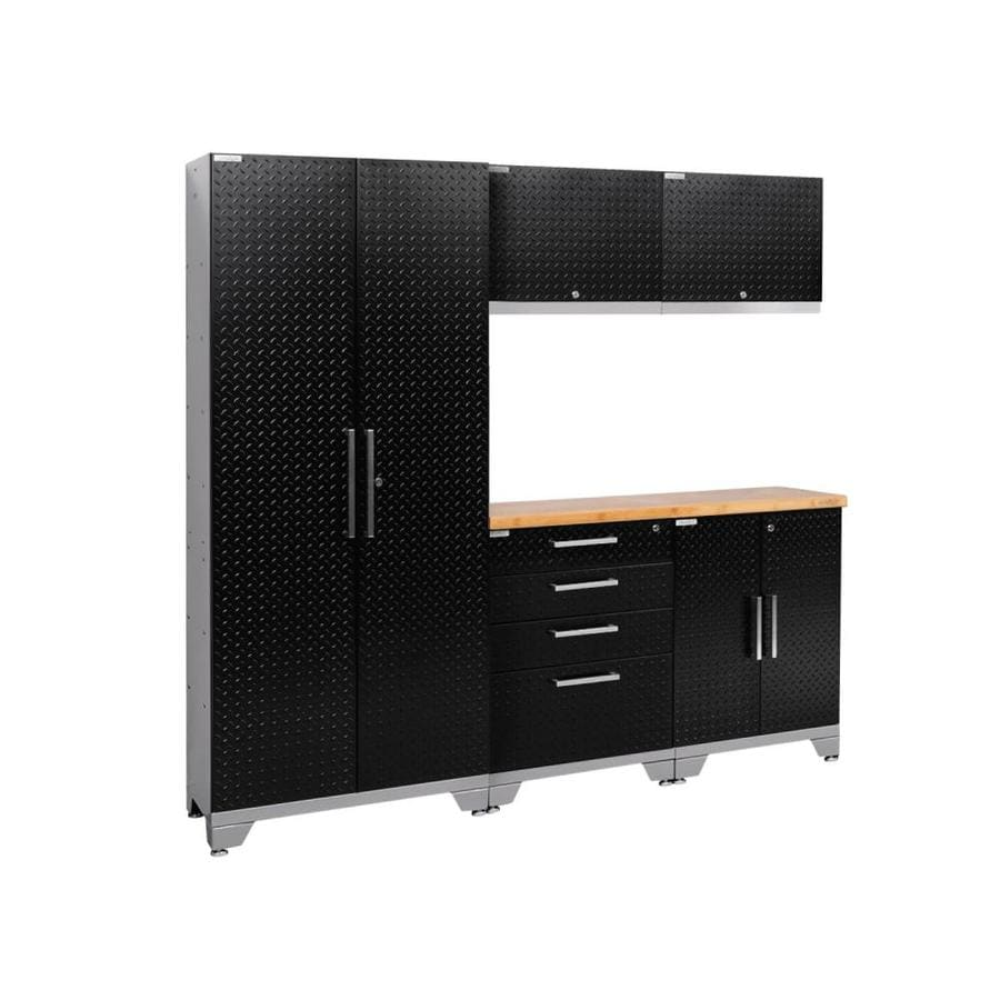 NewAge Products Performance 2.0 78.0 W x 72.0 H Diamond Plate Gloss Black Steel Garage Storage System