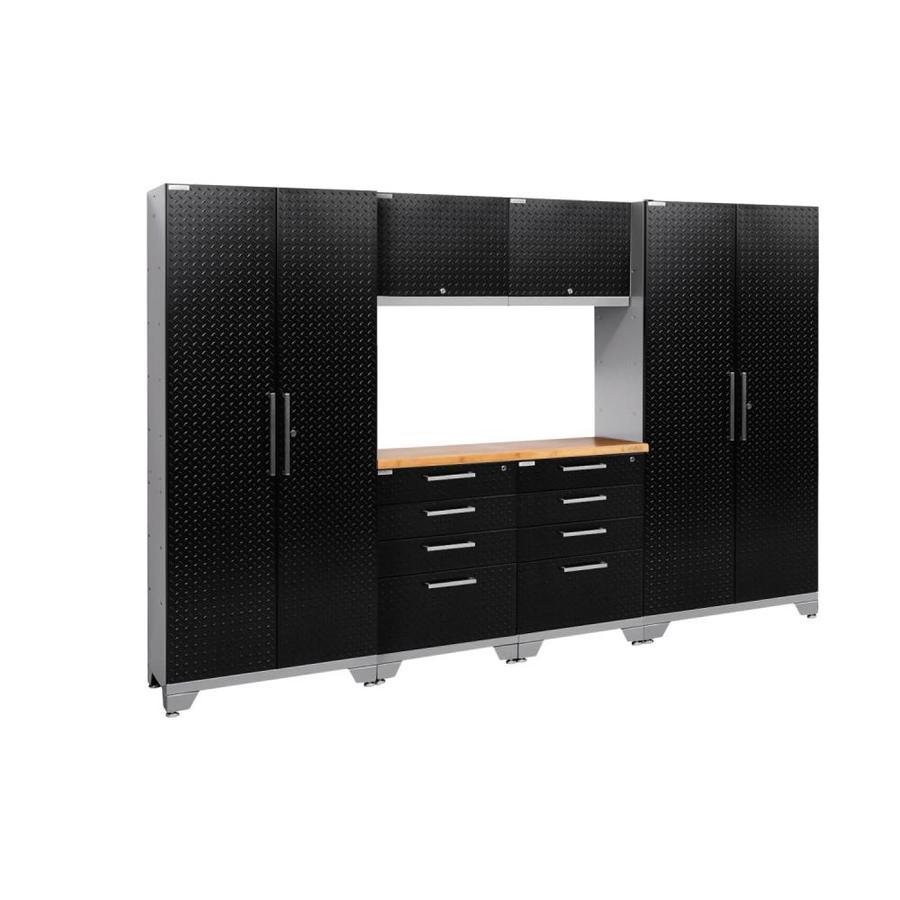 NewAge Products Performance 2.0 108.0 W x 72.0 H Diamond Plate Gloss Black Steel Garage Storage System