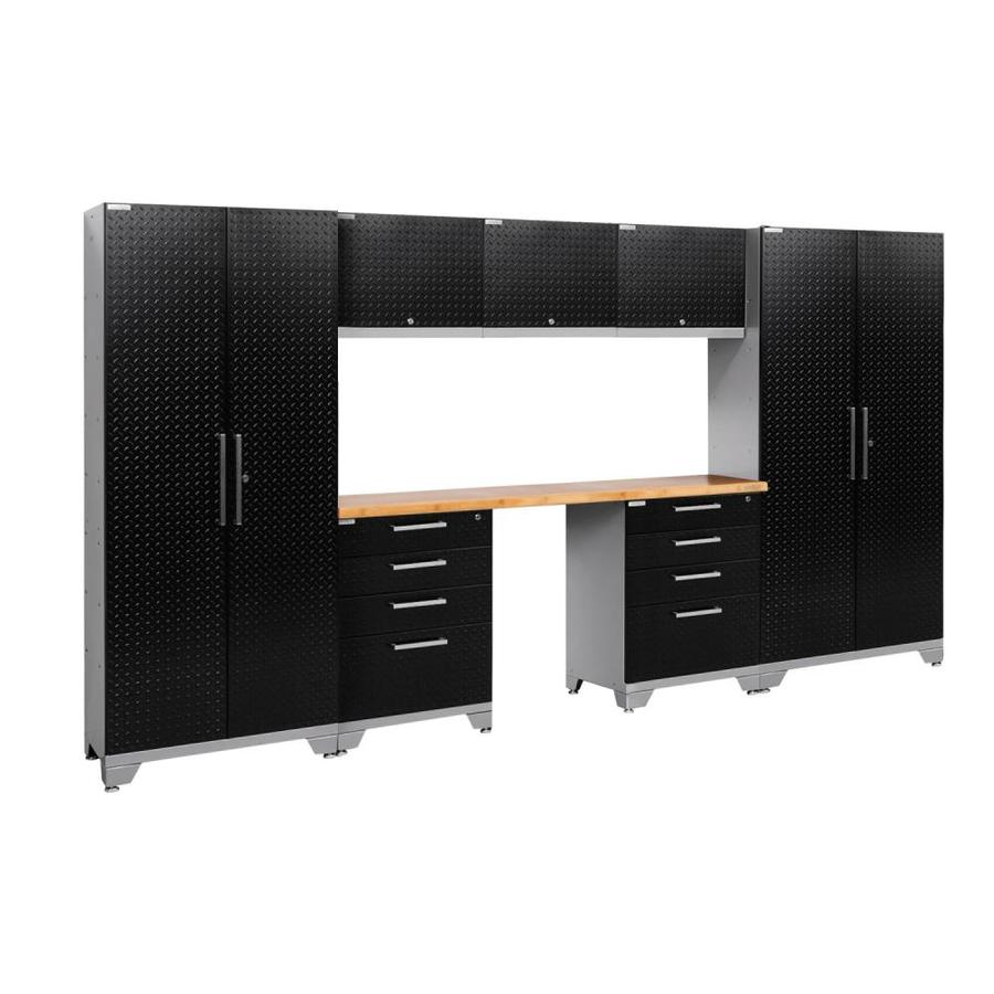 NewAge Products Performance 2.0 132.0 W x 72.0 H Diamond Plate Gloss Black Steel Garage Storage System