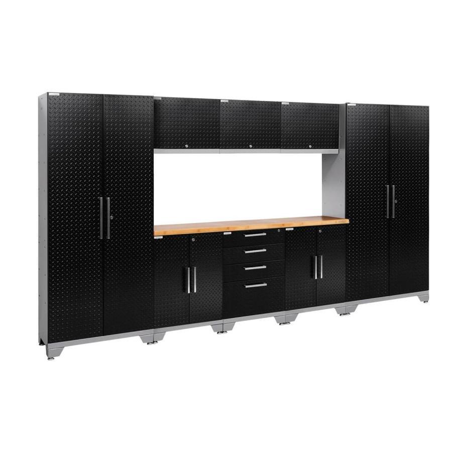 NewAge Products Performance 2.0 132.0 W x 72.0 H Diamond Plate Gloss Black Steel Garage Storage System