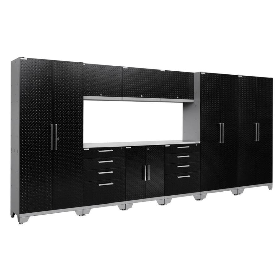 NewAge Products Performance 2.0 162.0 W x 72.0 H Diamond Plate Gloss Black Steel Garage Storage System