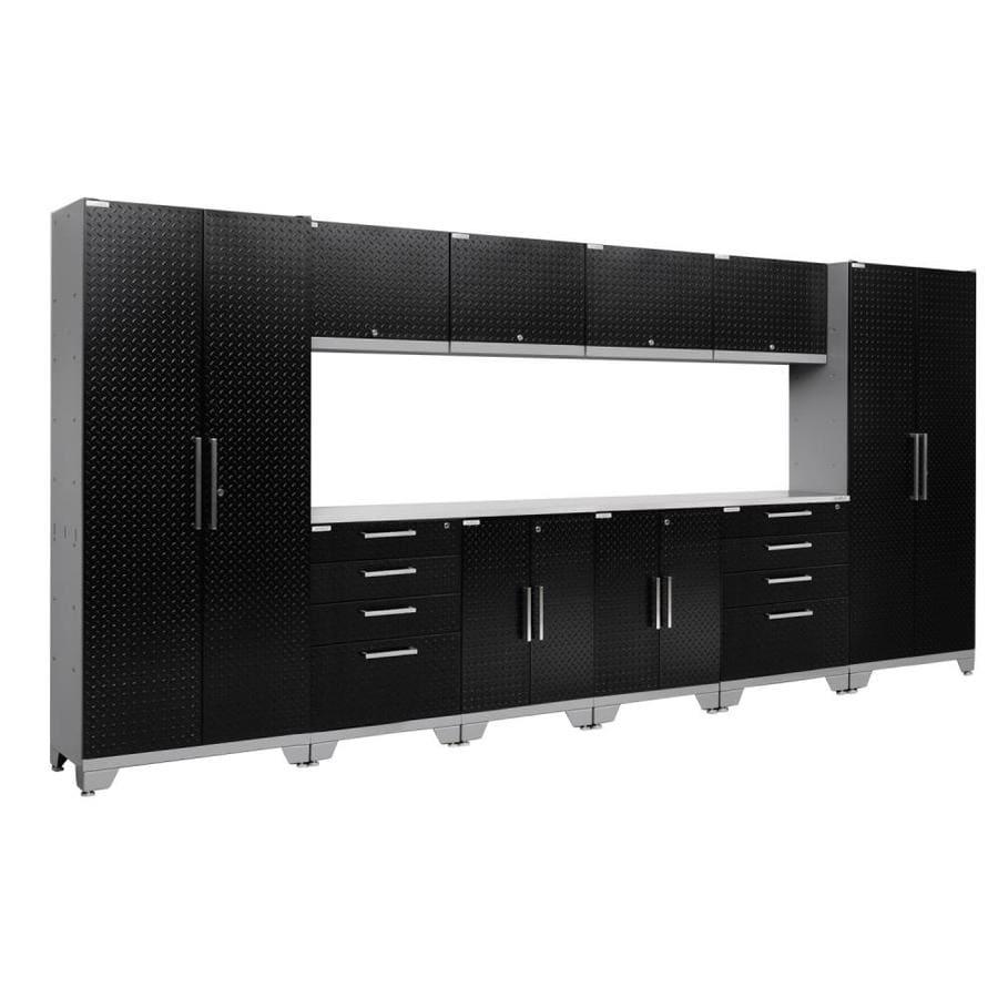 NewAge Products Performance 2.0 156.0 W x 72.0 H Diamond Plate Gloss Black Steel Garage Storage System