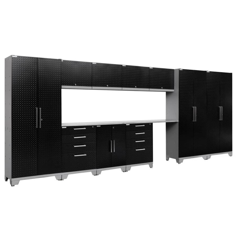NewAge Products Performance 2.0 186.0 W x 72.0 H Diamond Plate Gloss Black Steel Garage Storage System