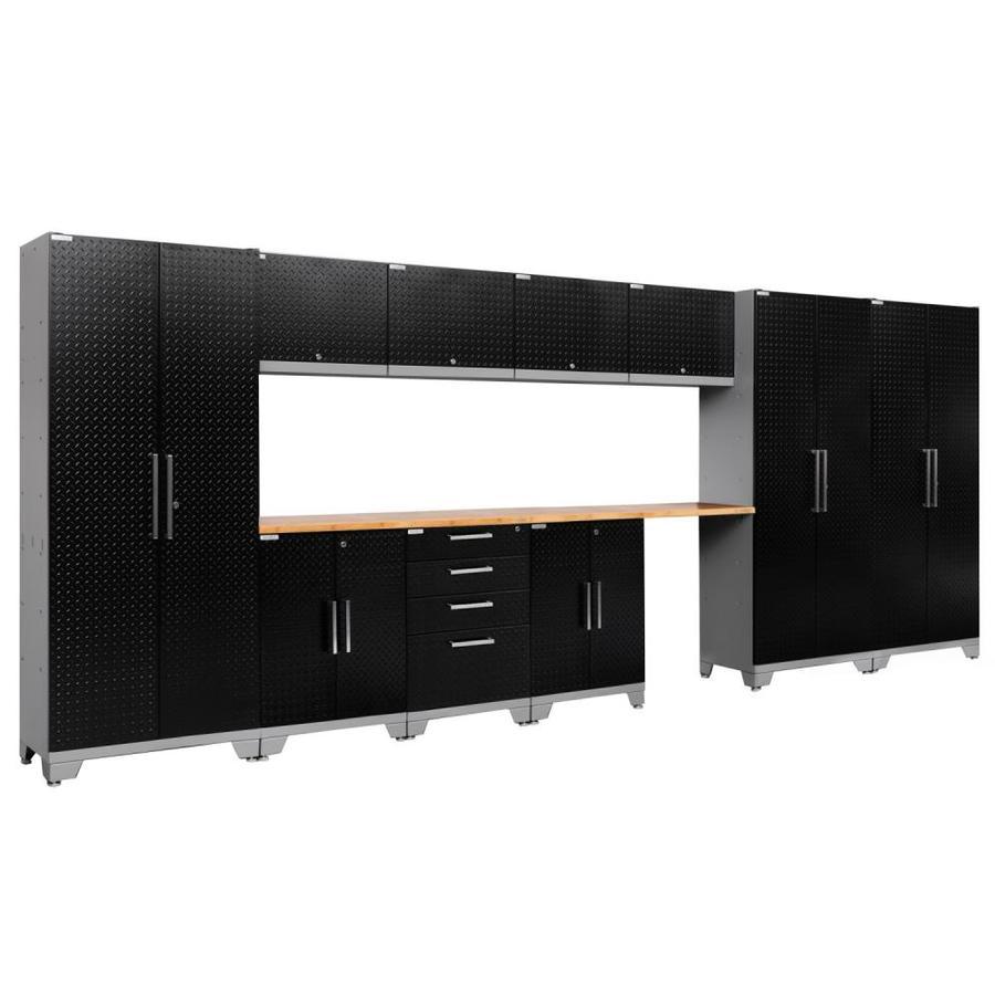 NewAge Products Performance 2.0 186.0 W x 72.0 H Diamond Plate Gloss Black Steel Garage Storage System