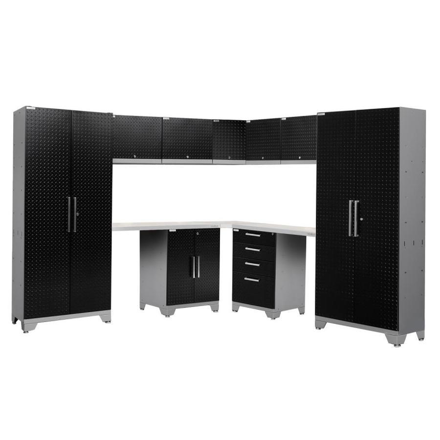 NewAge Products Performance 2.0 177.0 W x 72.0 H Diamond Plate Gloss Black Steel Garage Storage System