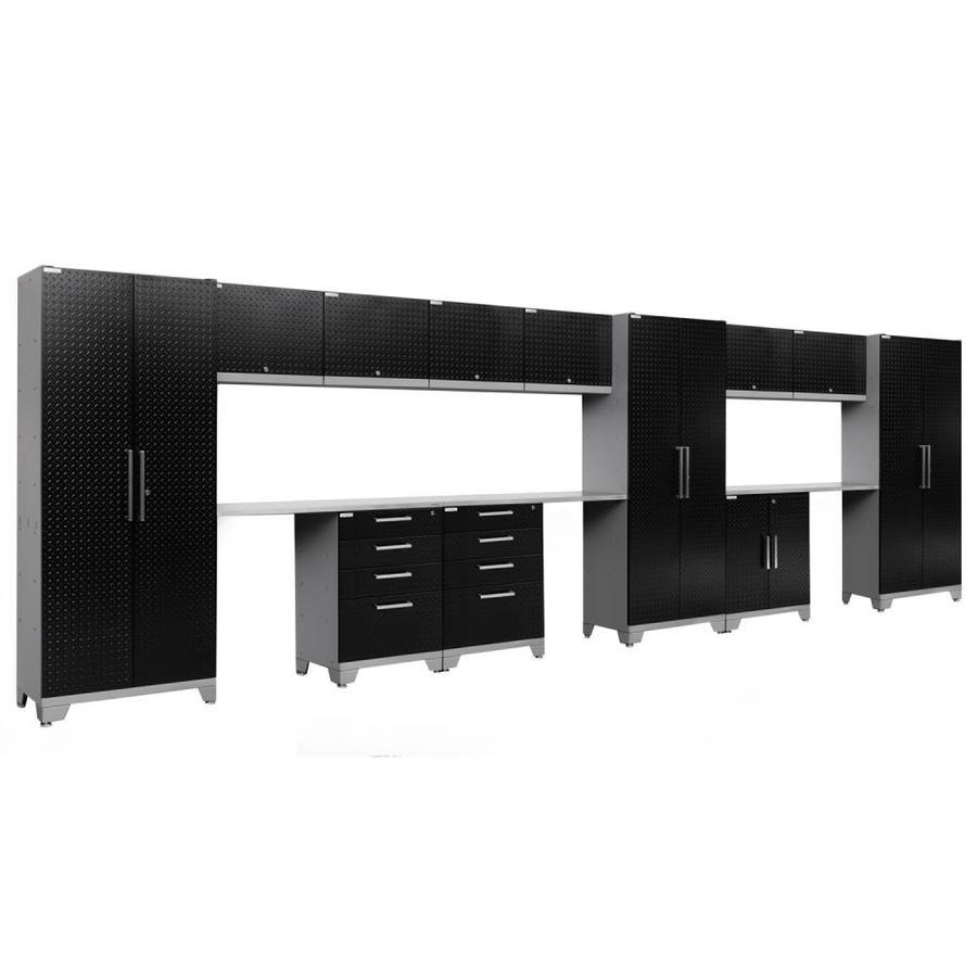 NewAge Products Performance 2.0 234.0 W x 72.0 H Diamond Plate Gloss Black Steel Garage Storage System