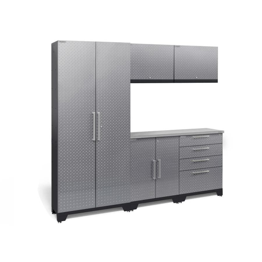 NewAge Products Performance 2.0 78.0 W x 72.0 H Diamond Plate Gloss Silver Steel Garage Storage System