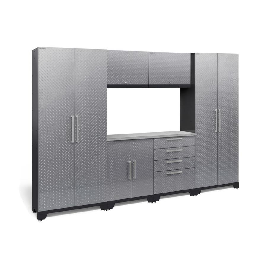 NewAge Products Performance 2.0 108.0 W x 72.0 H Diamond Plate Gloss Silver Steel Garage Storage System