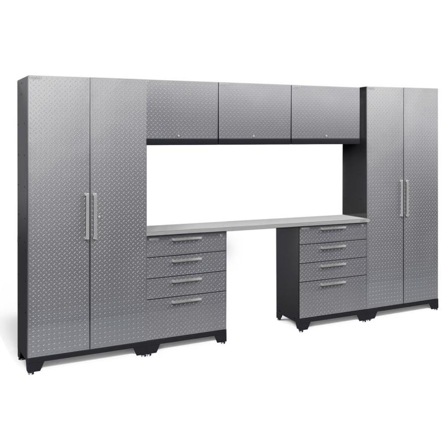 NewAge Products Performance 2.0 132.0 W x 72.0 H Diamond Plate Gloss Silver Steel Garage Storage System