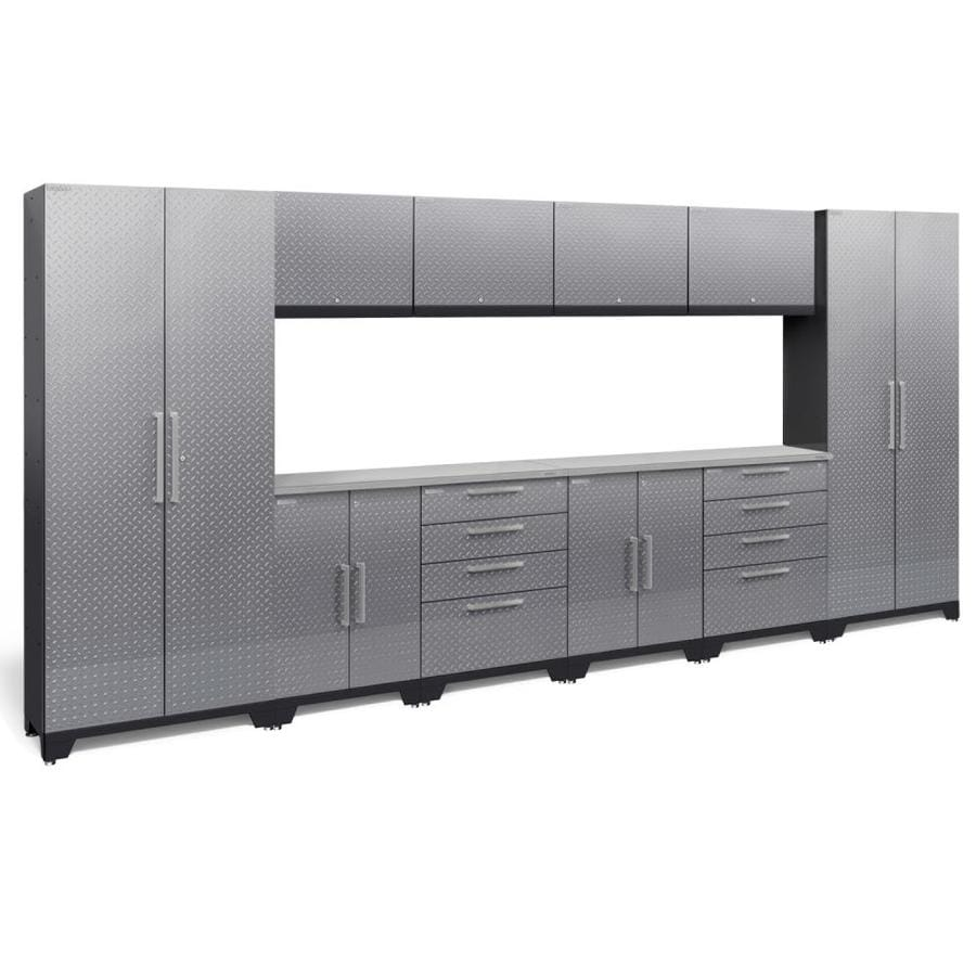 NewAge Products Performance 2.0 156.0 W x 72.0 H Diamond Plate Gloss Silver Steel Garage Storage System