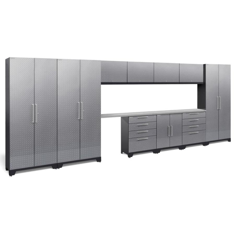 NewAge Products Performance 2.0 186.0 W x 72.0 H Diamond Plate Gloss Silver Steel Garage Storage System