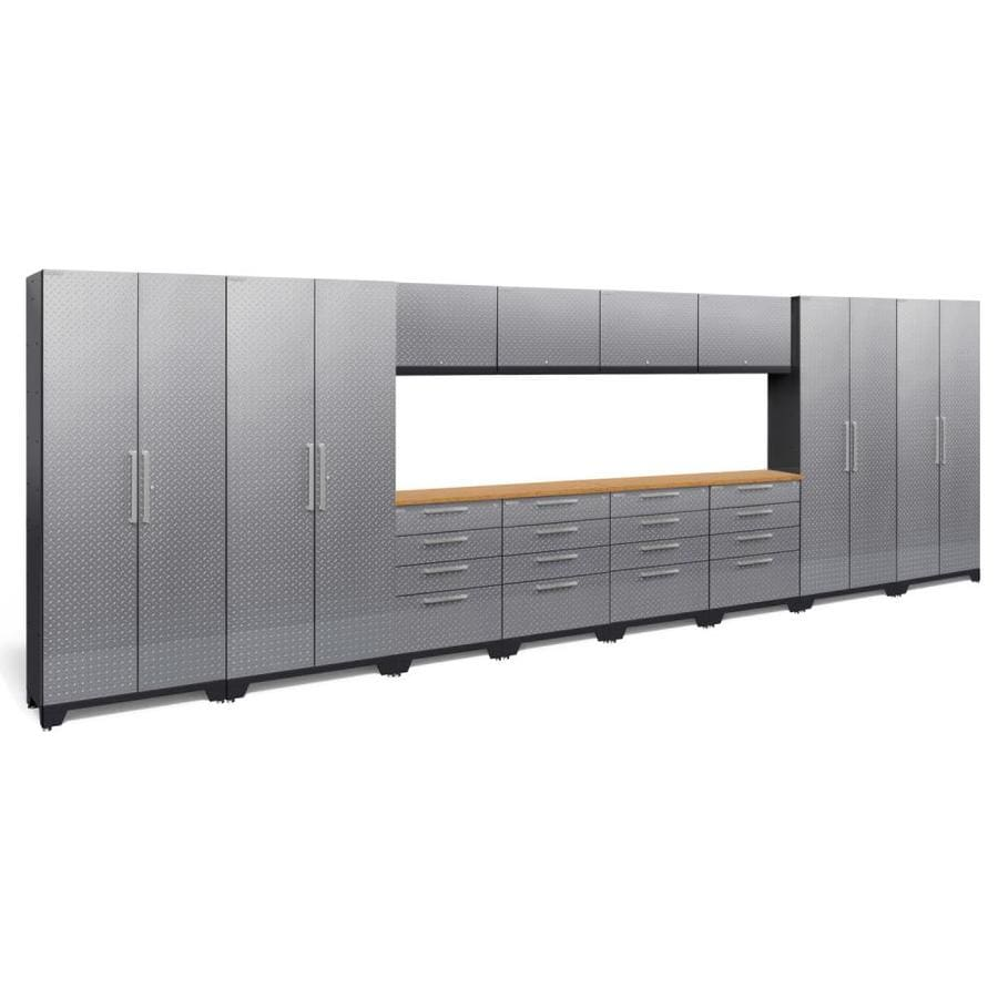 NewAge Products Performance 2.0 216.0 W x 72.0 H Diamond Plate Gloss Silver Steel Garage Storage System