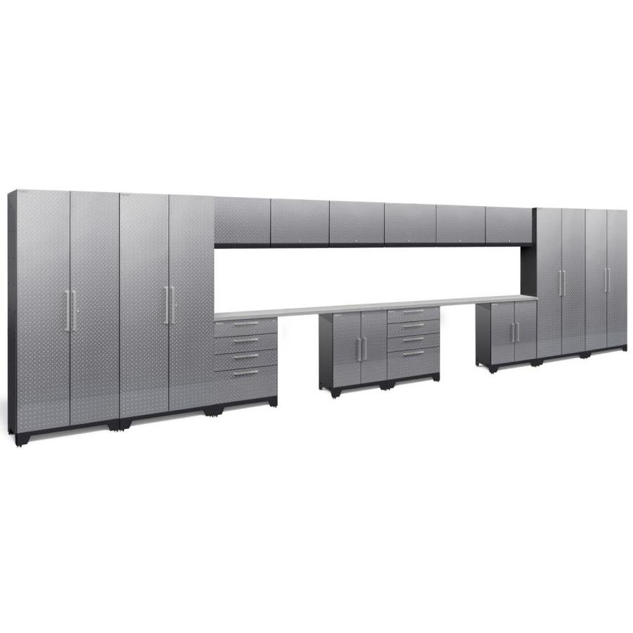 NewAge Products Performance 2.0 264.0 W x 72.0 H Diamond Plate Gloss Silver Steel Garage Storage System