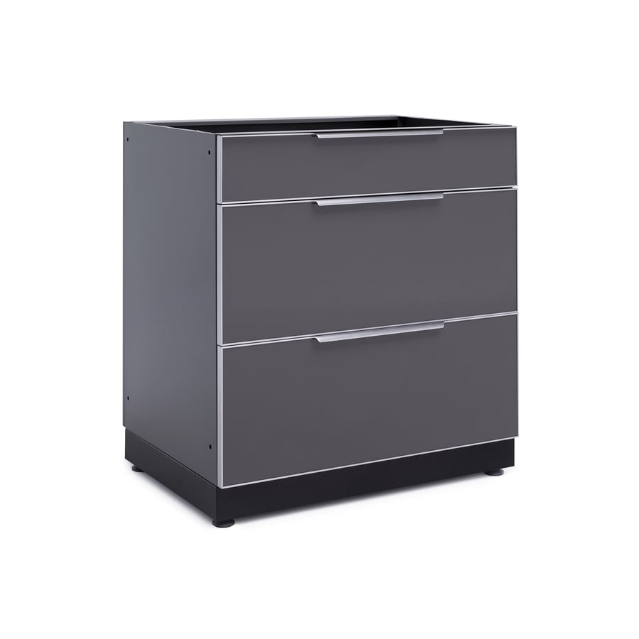 NewAge Products Outdoor Kitchen Aluminum Alloy 32 In. W 23 In. D 3-Drawer Cabinet Aluminum Alloy
