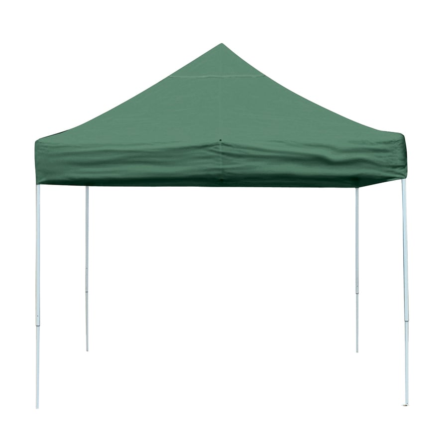 ShelterLogic Pop Up Canopy 10-ft W x 10-ft L Square Green Steel Pop-up Canopy