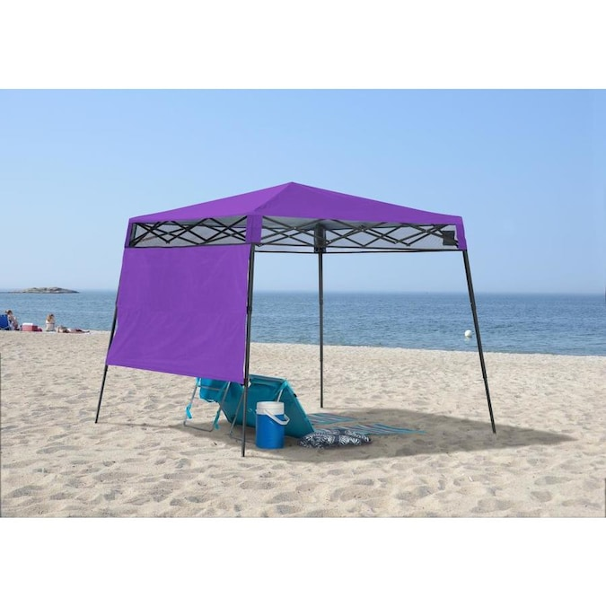 Quik Shade 7 08 Ft L Square Purple Pop Up Canopy In The Canopies Department At Lowes Com
